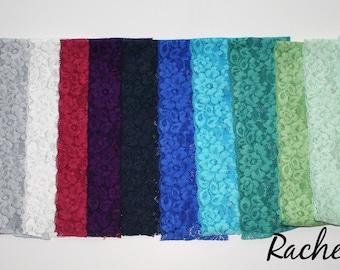 "WIDE Lace Headband Hand Dyed CUSTOM SIZING "" The Rachel Lace"" Adult Headbands Teenager Little Girls Newborn"