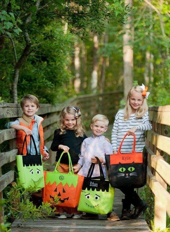 These super cute Halloween Totes are perfect for your little ones. You can choose from a name or three letter monogram no your tote.  pumpkin cat frankenstein monster