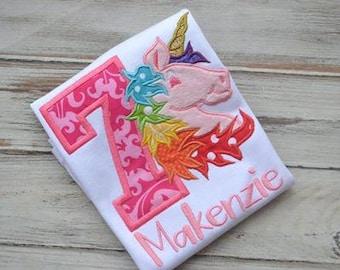 Unicorn Rainbow Girls Embroidered Shirt