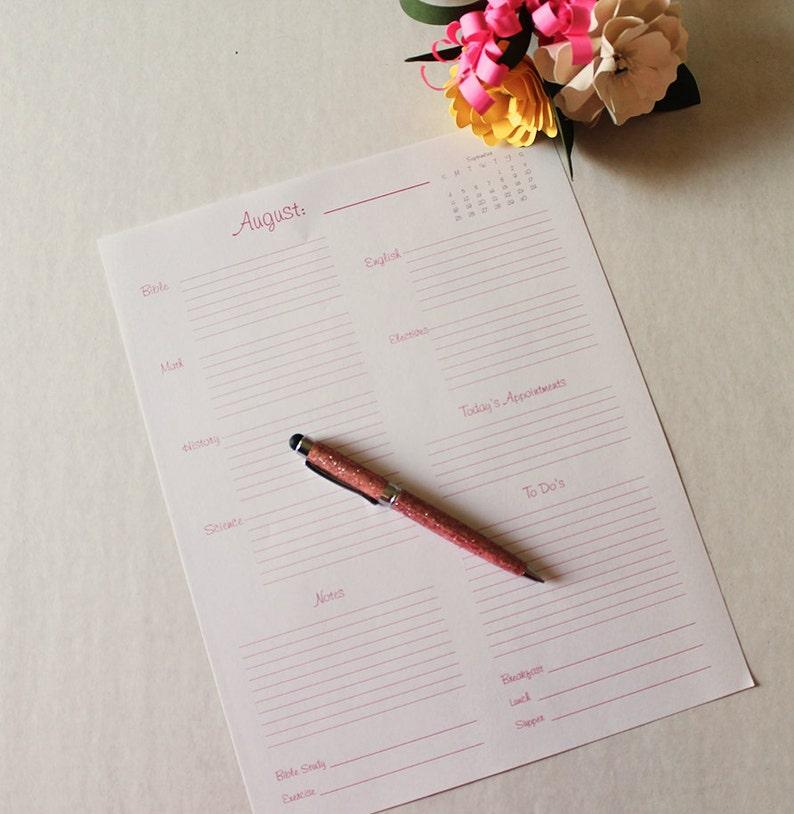 Printable Pink and Gray Homeschool Daily Planner Digital image 0