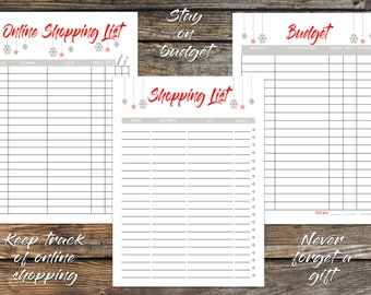 2020 Christmas Planner Printable Holiday Planner Weekly Planner Shopping List Recipe Cards Gift List Planning Kit Organizer