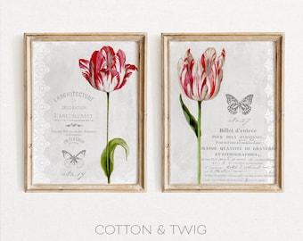 Printable Vintage Tulips, Ephemera, Wall Art, Instant Download, Junk Journal, Digital Print