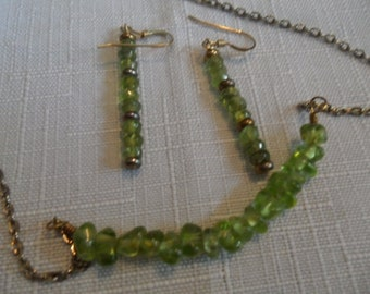 Vintage Natural Peridot Necklace and Earrings