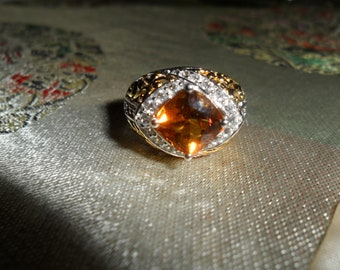 Vintage Victoria Wieck Two Tone Sterling Silver Citrine Fire Opal Ring Size 6