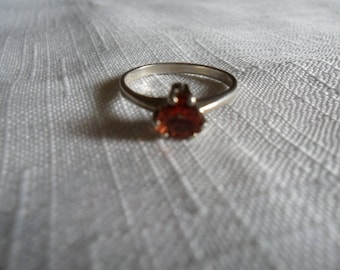 Vintage Orange Red Andesine Labradorite Sterling Silver Ring Size 6