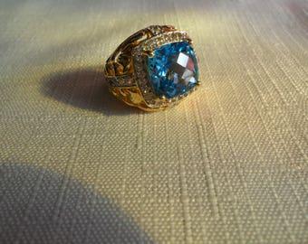 Vintage Victoria Wieck Swiss Blue Topaz Gold Vermeil Ring Size 6