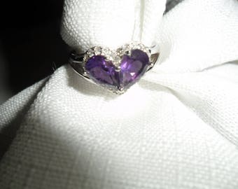 Vintage African Amethyst White Zircon Sterling Silver Ring Size 8