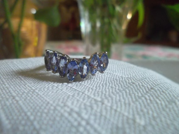 handmade 925 snake band with lapis lazuli Size 7 silver tested vintage sterling silver ring