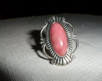 Vintage Rhodochrosite Sterling Silver Ring Size 8.5