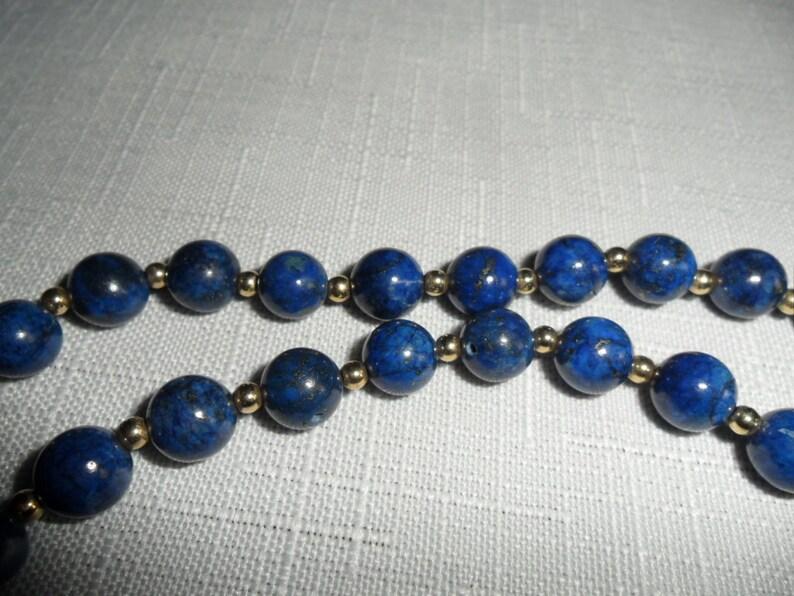 Vintage 14K Lapis 33 Inch Necklace