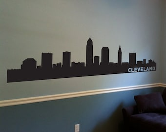 Cleveland City Skyline Decal, Cleveland Ohio, State Wall Decal, Cleveland Skyline, Wall Art, Wall Decor, Wall Decals, Housewarming Gift