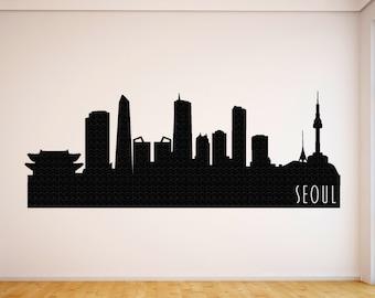 Seoul City Skyline Decal, Seoul South Korea State Wall Decal, Seoul Skyline, Wall Art, Wall Decor, Wall Decals, Housewarming Gift