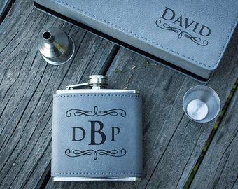 Groomsmen Gift, Personalized Flask - Laser Engraved Flask Wrapped In Gray Faux Leather - Great Gift for Him, Boyfriend Gift