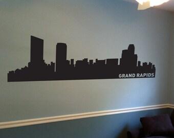 Grand Rapids City Skyline Decal, Grand Rapids MI Wall Decal, Grand Rapids Skyline, Wall Art, Wall Decor, Wall Decals, Housewarming Gift