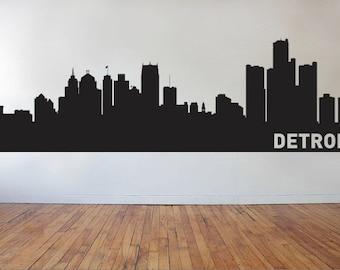 Detroit City Skyline Decal, Detroit Michigan, State Wall Decal, Detroit Skyline, Wall Decor, Wall Decals, Housewarming Gift