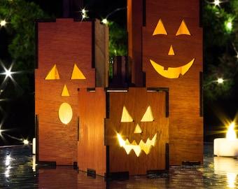 Light-Up Jack O Lanterns - Set of 3 Mini Wood Pumpkins
