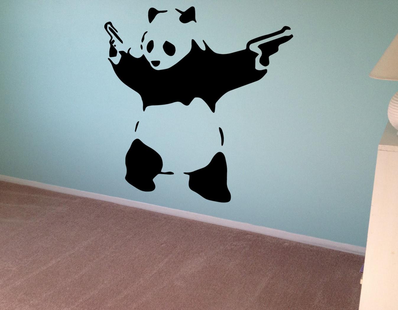 Banksy Wall Decal Panda Guns Wall Art Wall Sticker Vinyl Etsy