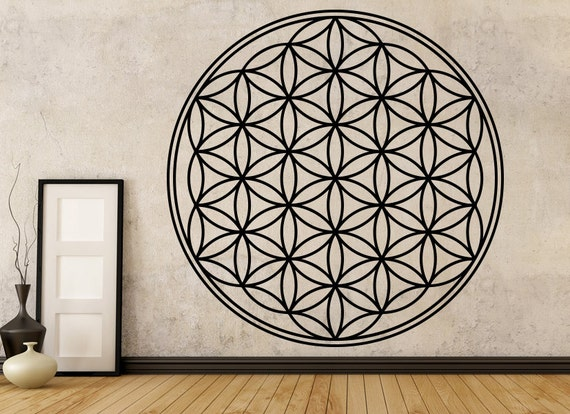 flower of life vinyl wall decal/sticker boho decals vinyl | etsy