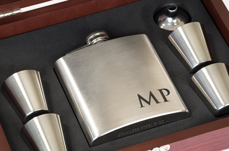 Gift for Men  Groomsmen Flask Personalized Flask for Men 6pc Set + Wood Box