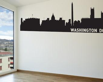 Washington DC City Skyline Decal, Washington DC Wall Decal, DC Skyline, Wall Art, Wall Decor, Wall Decals, Housewarming Gift