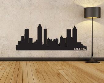 Atlanta City Skyline Decal, Atlanta Georgia, State Wall Decal, Atlanta Skyline, Wall Art, Wall Decor, Wall Decals, Housewarming Gift