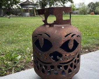 Kitty cat propane pumpkin Halloween jack o lantern