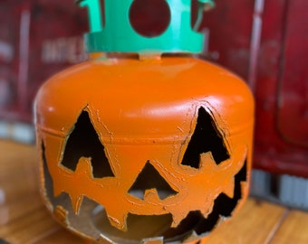 Recycled jack-o'-lantern propane pumpkin short cutie farmhouse halloween