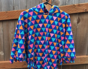 Geometric Print Fleece Poncho Size 7-8 years