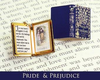 Miniature Book Quote Pendant - Pride and Prejudice by Jane Austen - Custom Bracelet or Necklace Charm
