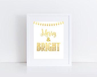 "Christmas Print: Merry & Bright // 8x10"" printable"