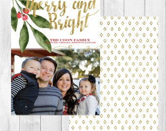 "Photo Christmas Card: Merry & Bright // 5x7"" printable"