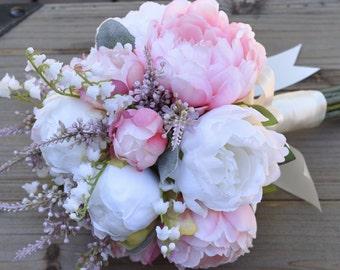 Wedding Bouquet, Silk Wedding Bouquet, Peony Bridesmaid Bouquet, Wedding Flowers, Peony Bouquet, Pink Bouquet, EADEN GARDENS Collection.