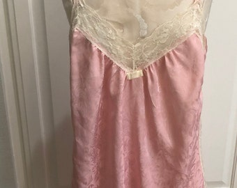 Vintage NOS tags on pale pink cream lace nightgown Lily of France label made in USA Sz ML demure poly light ctn fleece lined long nightgown