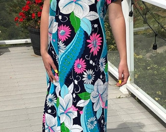 ec1d3be02cea 1960/70's Aloha Hawaii Blue and Pink Floral Barkcloth Cotton Long Hawaiian  Dress With Open Sleeves - Size M - muumuu dress, Hawaiian, luau