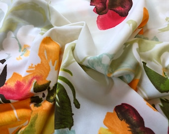 37a6549610b Vintage Orange Yellow Watercolor Floral Double Knit Fabric w/ Stretch by  Merry Mary 64