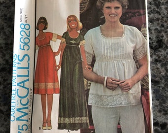 9fbbe1d0479 RARE 1977 McCalls Sewing Pattern 5628 Misses Pin Tuck Front Short or Long  Empire Waist Dress Size 14 Uncut-tunic top