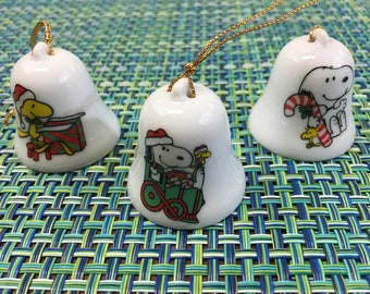1965 Set Of 3 Mini Ceramic Snoopy Christmas Bell Ornaments Snoopy With Candy Cane Bell Snoopy On Train Bell Woodstock Opening Present