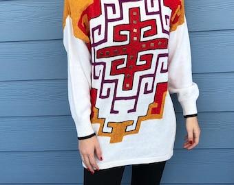 oversized sweater Vintage 1980/'s Oleg Cassini Oversized Aztec Southwest Print White Sweater Size S Aztec Sweater Oleg Cassini sweater