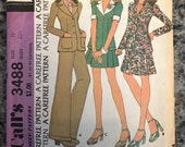 1973 Mccalls Sewing Pattern 3488 Misses A Line Skirt, Fitted Jacket High Waist Cuffed Pants Size 10 -misses suit pattern, high waist pants