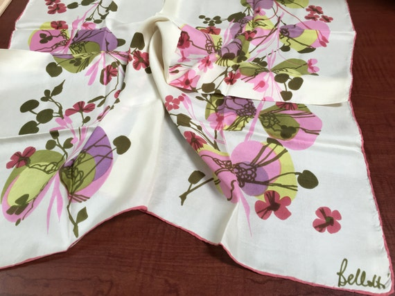 Vintage Bellotti rose Floral carré soie 30 foulard   Etsy fe779db8a62
