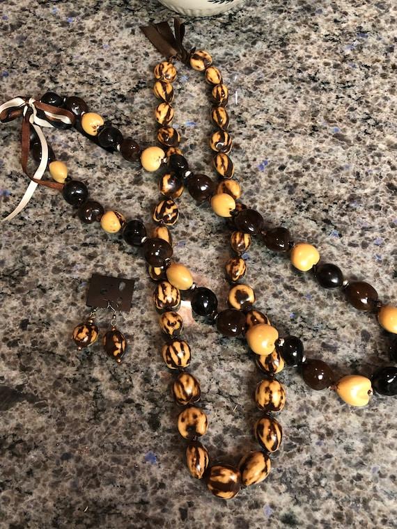 Beige Kukui Nut Lei Hawaiian Necklace Luau Wedding Graduation Gift Set of 2 Necklaces