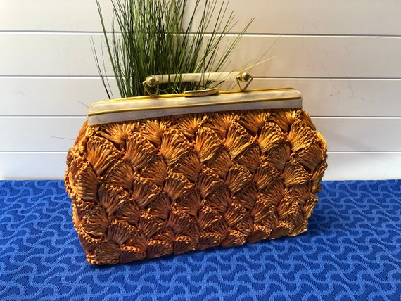 Vintage 1960's Womens Orange Raffia Handbag with P