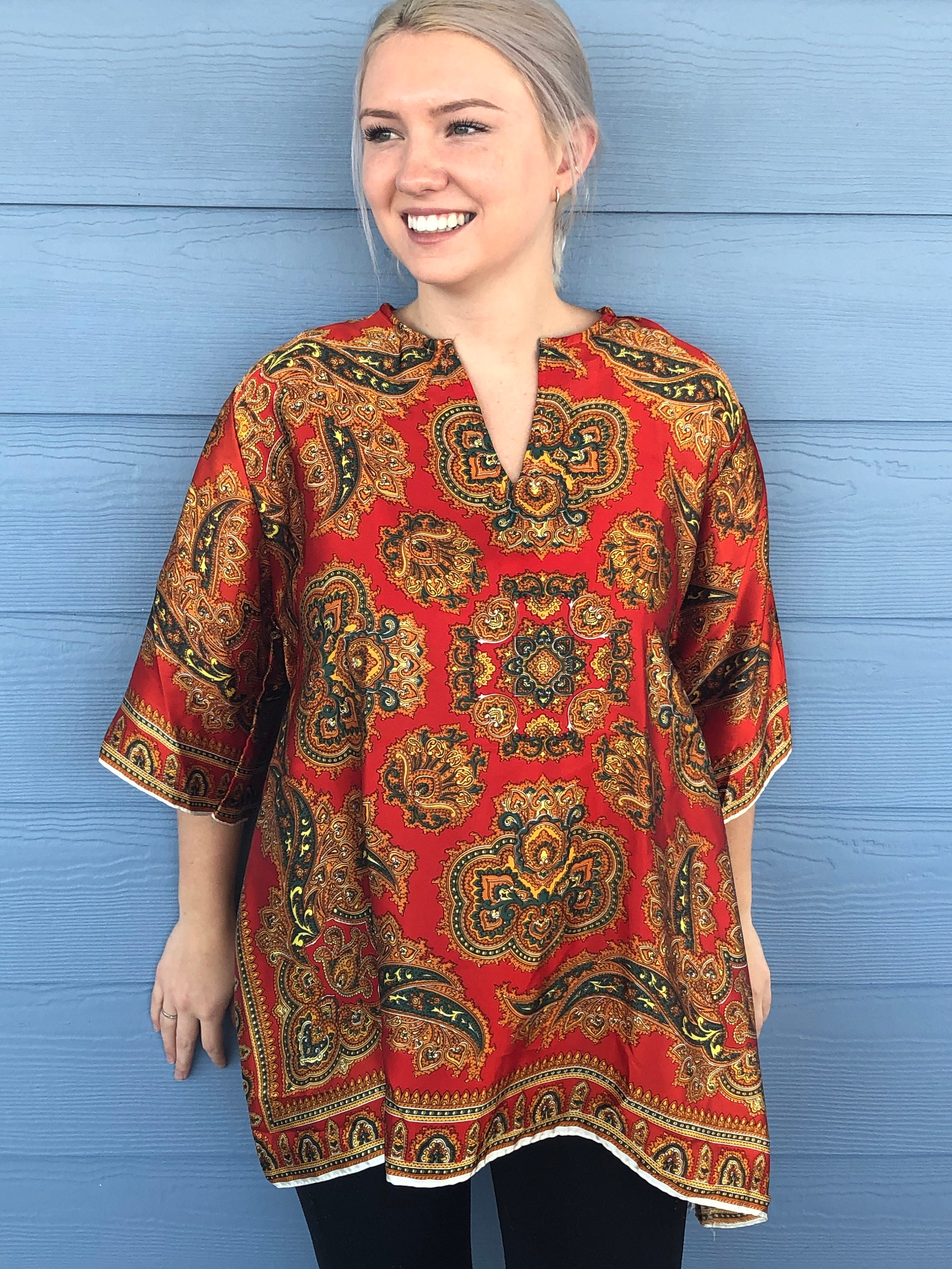 Vintage Scarf Styles -1920s to 1960s Vintage David Edden New Orleans 1960s Boho Hippie Tunic Top Red  Green Geometric Print Acetate Size S - Scarf Tunic Top, Acetate Top $35.00 AT vintagedancer.com