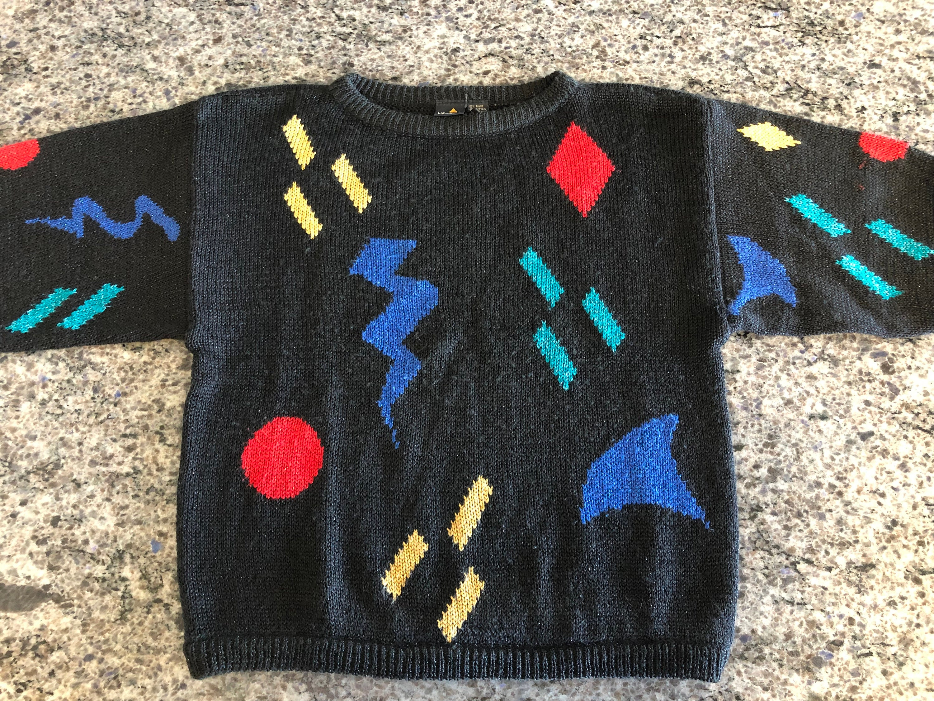 80s Sweatshirts, Sweaters, Vests | Women Vintage 1980s Liz Claiborne Black Geometric Print Short Sleeve Cropped Sweater Made in Hong Kong Size Large - Womens Black Sweater, 80s $24.00 AT vintagedancer.com