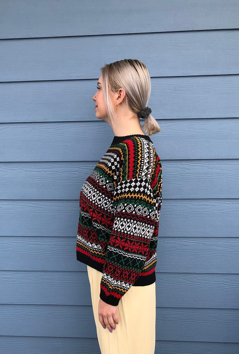1980s bright sweater Knit Knit sweater 1980/'s Knit Knit  Funky Bright Multi-Colored Womens Pullover Cotton Ramie Sweater Size size M