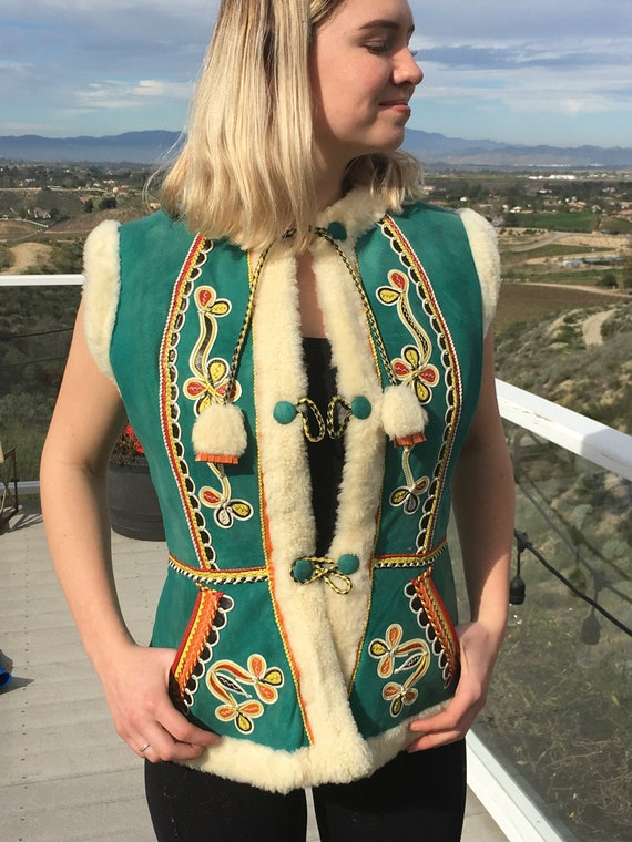 RARE Folk Costume Green Suede Embroidered Vest wit