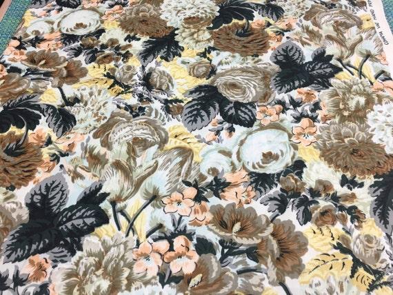 Vintage Cohama Devon Cotton Brown And Black Cabbage Rose Print Etsy