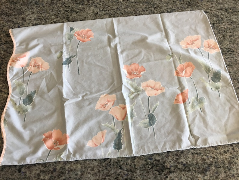 Vintage Springmaid Blue with Pink Poppies Standard Size Pillowcase with Scalloped Edge floral standard pillowcase Springmaid pillowcase