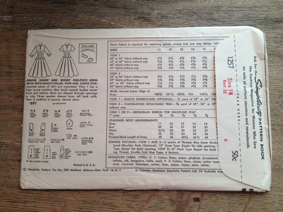 Rare 1950 S Simplicity Sewing Pattern 1257 Misses Drop Etsy