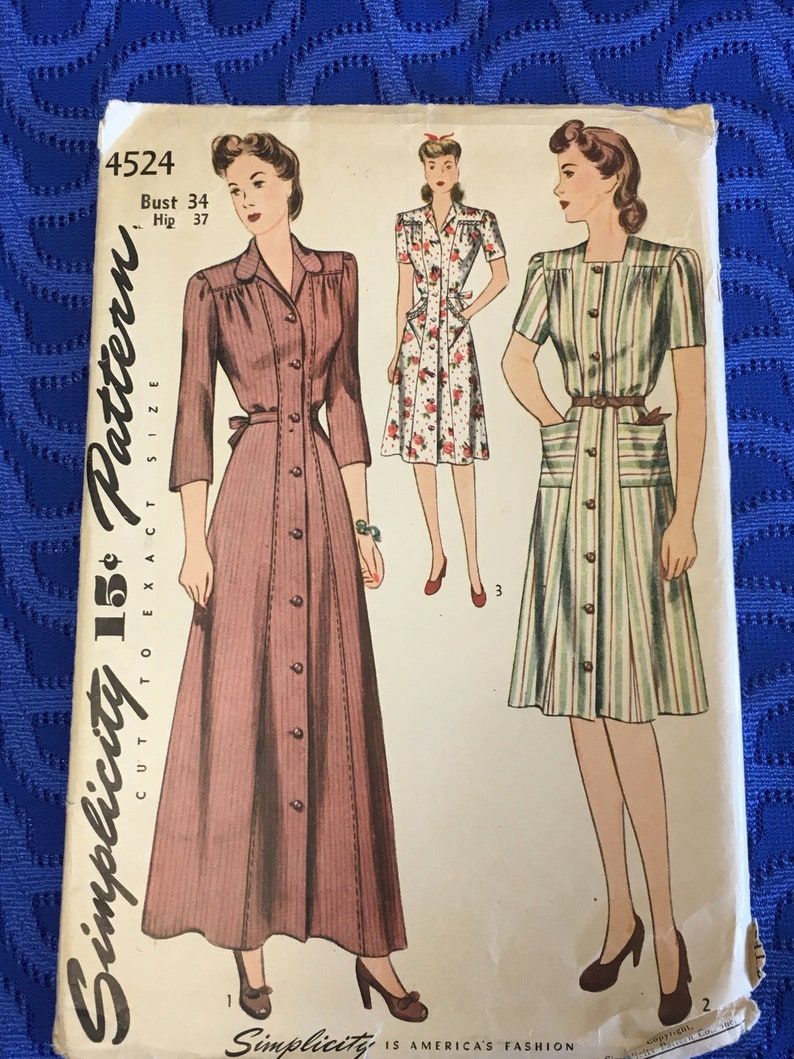 e623824baec 1940 s Simplicity Sewing Pattern 4524 Misses Princess Seam